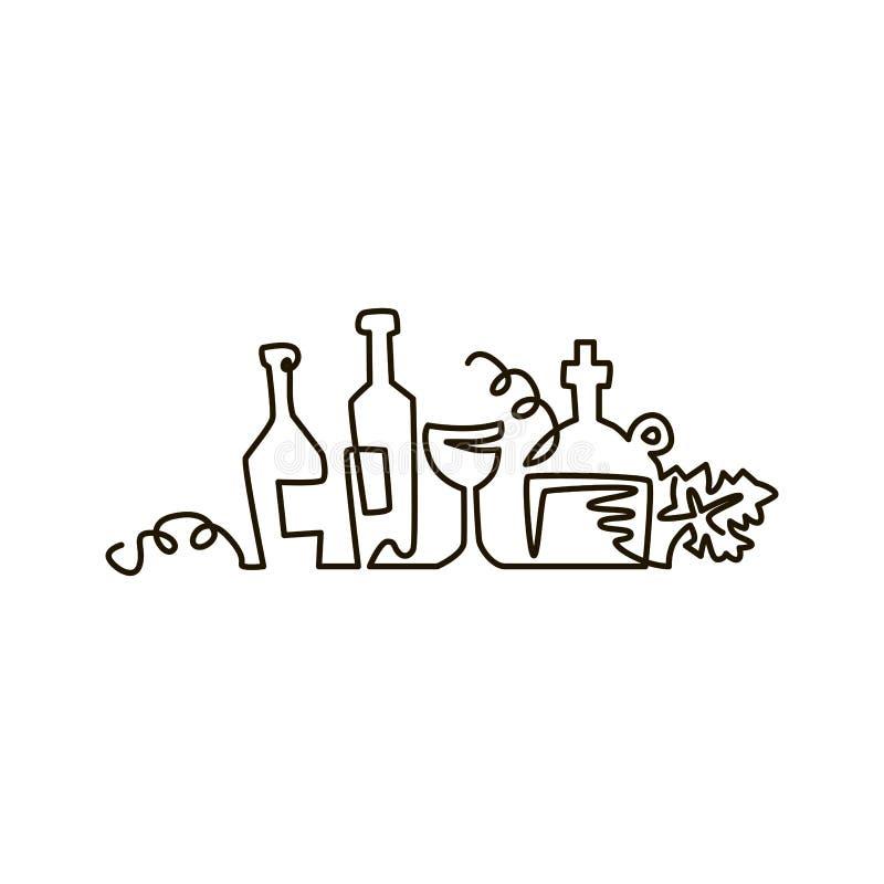 Ligne icône de vecteur Bouteilles de vin avec des feuilles de raisin Un dessin au trait D'isolement sur le fond blanc illustration libre de droits