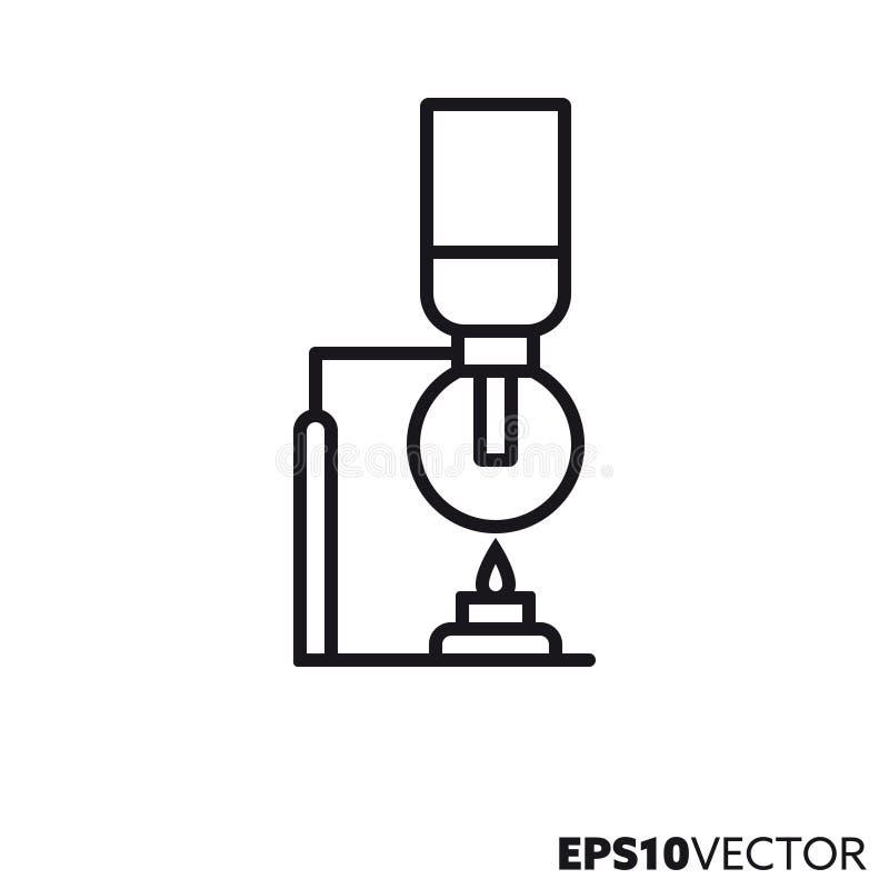 Ligne icône de vecteur de brassage de café de siphon illustration libre de droits