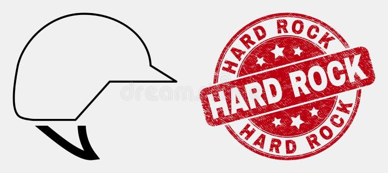 Ligne icône de vecteur de casque de moto et joint de hard rock de détresse illustration stock