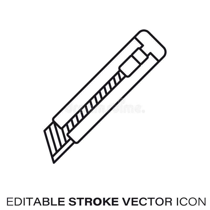 Ligne icône de vecteur de couteau de coupeur de boîte illustration libre de droits