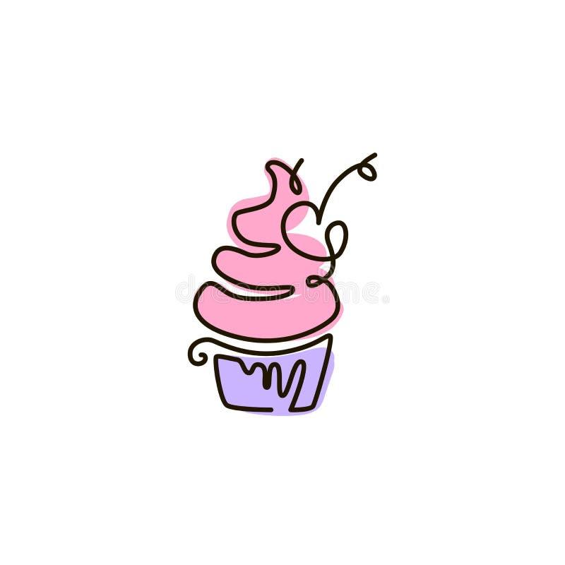 Ligne icône de vecteur cupcake Une ligne dessin coloré D'isolement sur le fond blanc illustration de vecteur