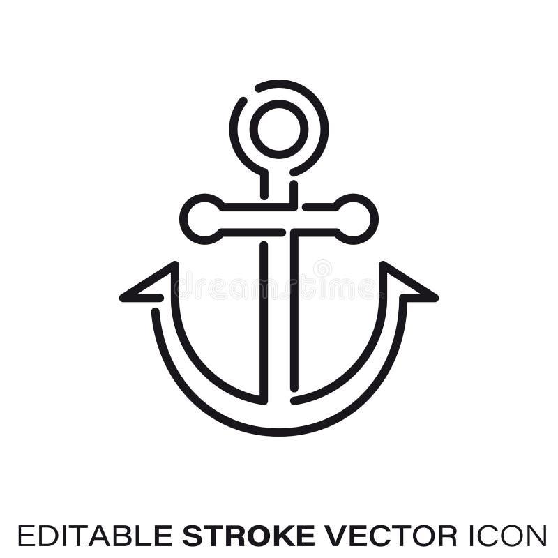 Ligne icône de vecteur d'ancre illustration de vecteur