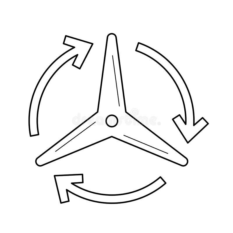 Ligne icône de vecteur de générateur de vent illustration libre de droits