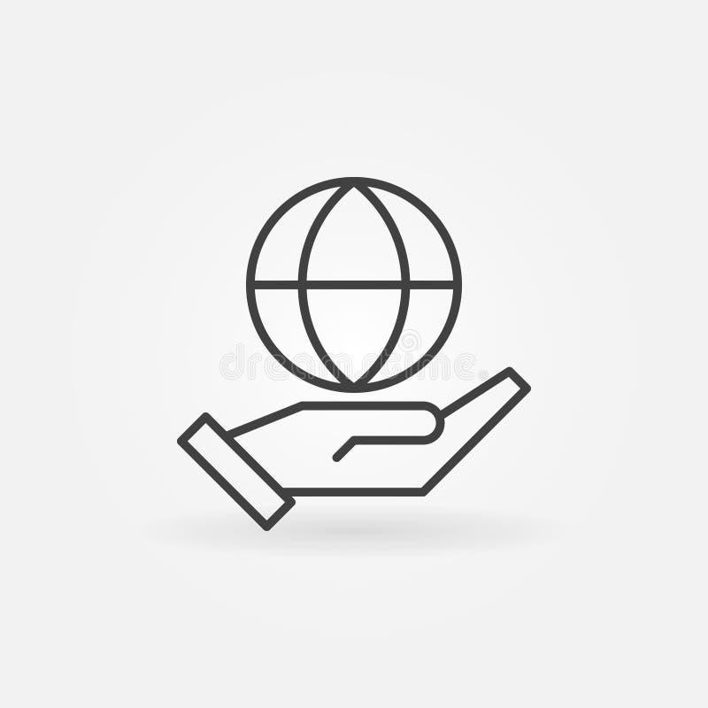 Ligne icône de vecteur de globe de participation de main Signe disponible de planète illustration de vecteur