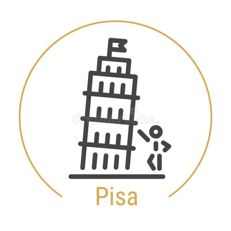 Ligne icône de vecteur de Pise, Italie illustration libre de droits
