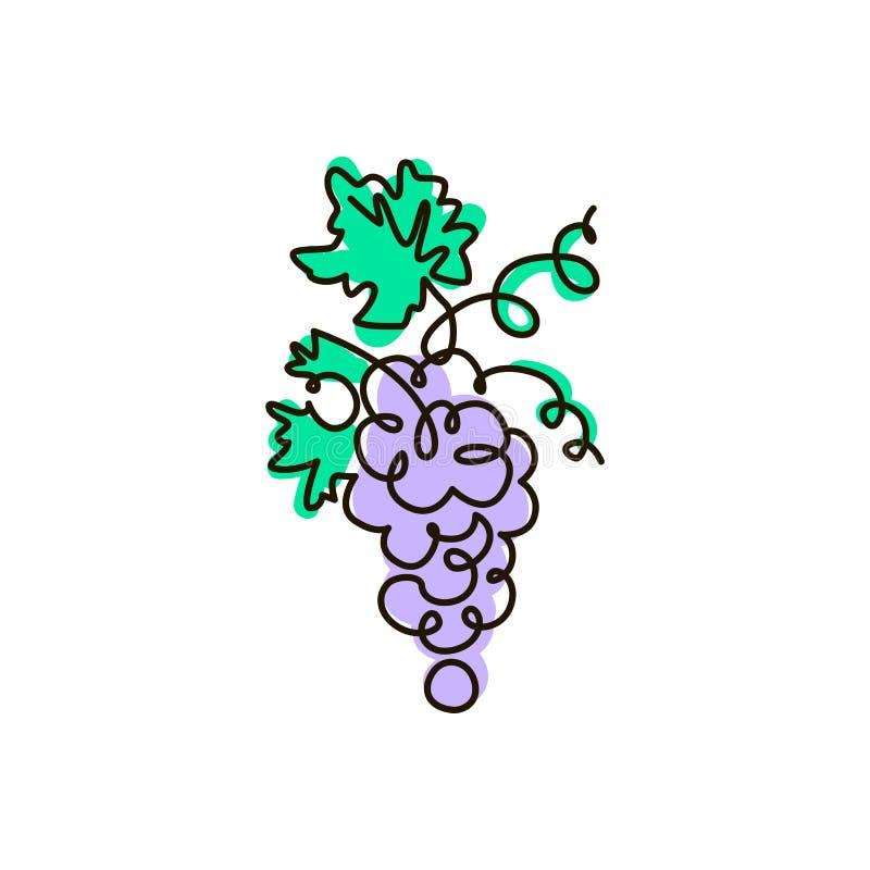 Ligne icône de vecteur raisin Une ligne dessin coloré D'isolement sur le fond blanc illustration de vecteur