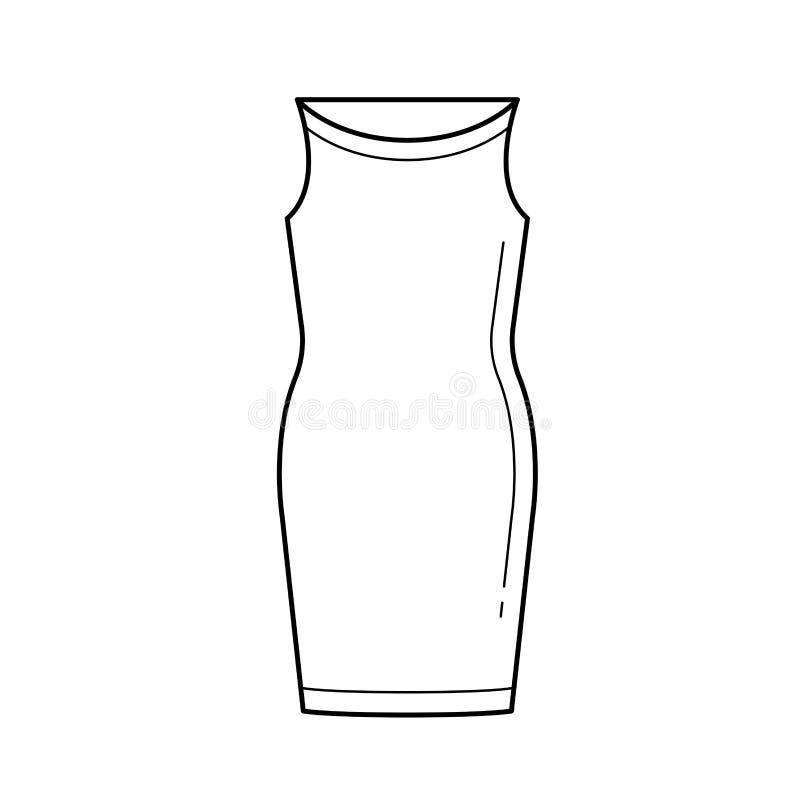 Ligne icône de vecteur de robe de corsage illustration libre de droits