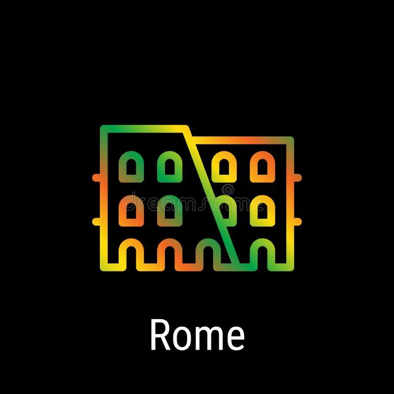 Ligne icône de vecteur de Rome, Italie illustration libre de droits