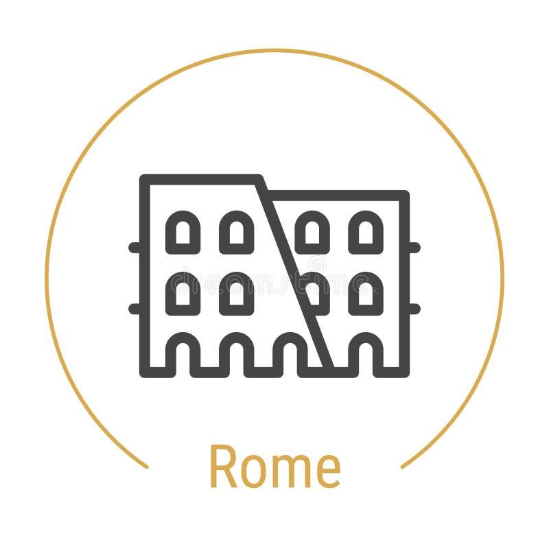 Ligne icône de vecteur de Rome, Italie illustration de vecteur