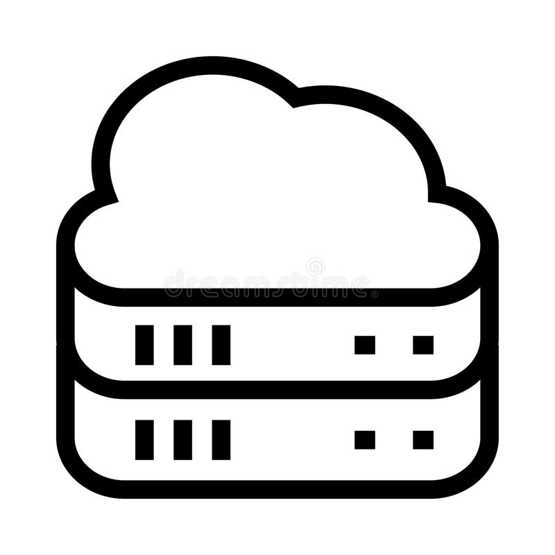 Ligne icône de vecteur de serveur illustration libre de droits