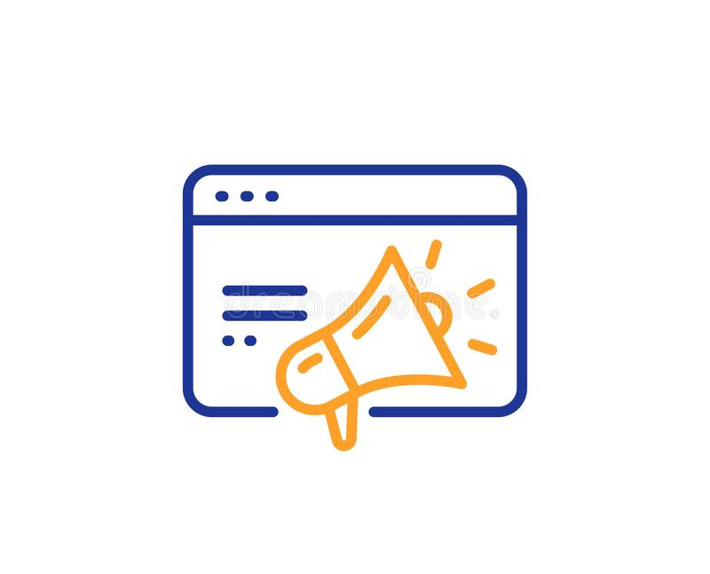 Ligne icône de vente de Seo Web visant le signe Gestion de trafic Vecteur illustration stock