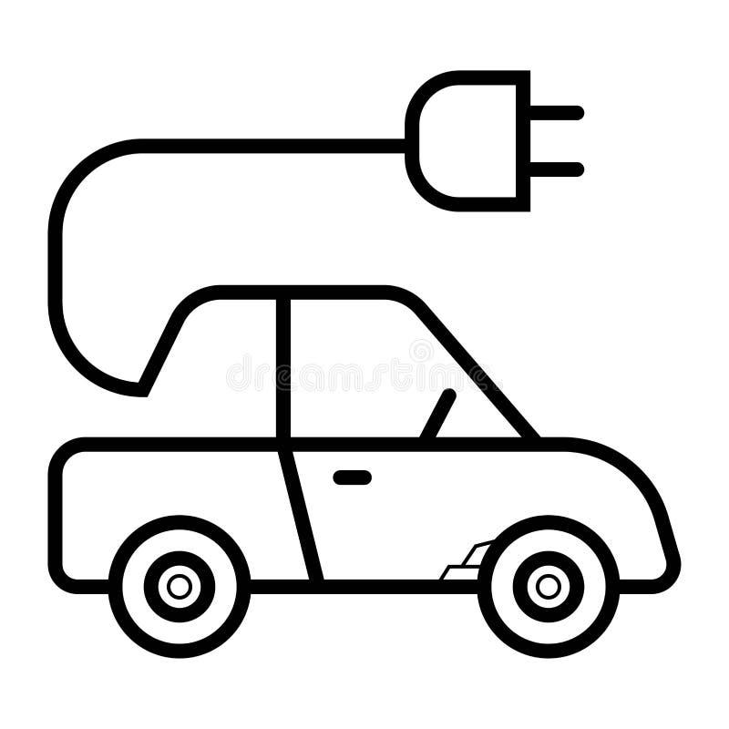 Ligne icône de voiture électrique illustration stock