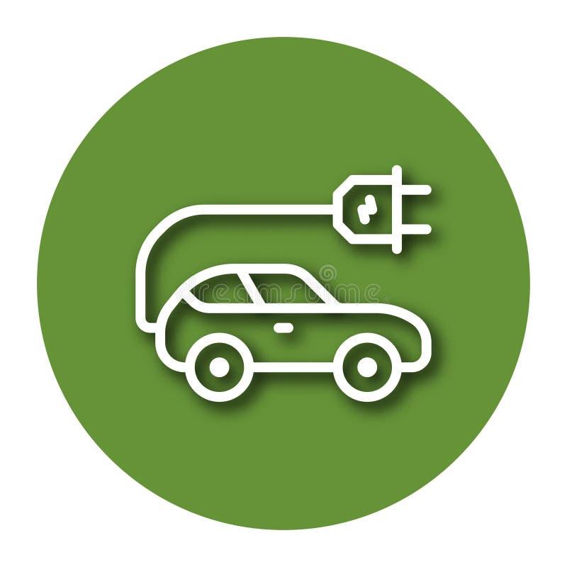 Ligne icône de voiture électrique avec l'ombre illustration libre de droits