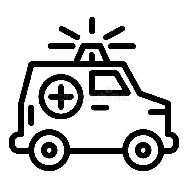 Ligne icône de voiture d'ambulance Voiture médicale avec l'illustration de vecteur de bateau d'isolement sur le blanc Conception  illustration de vecteur