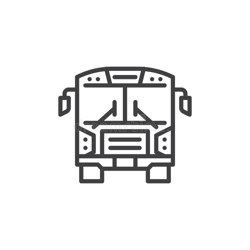 Ligne icône de vue de face d'autobus scolaire illustration stock