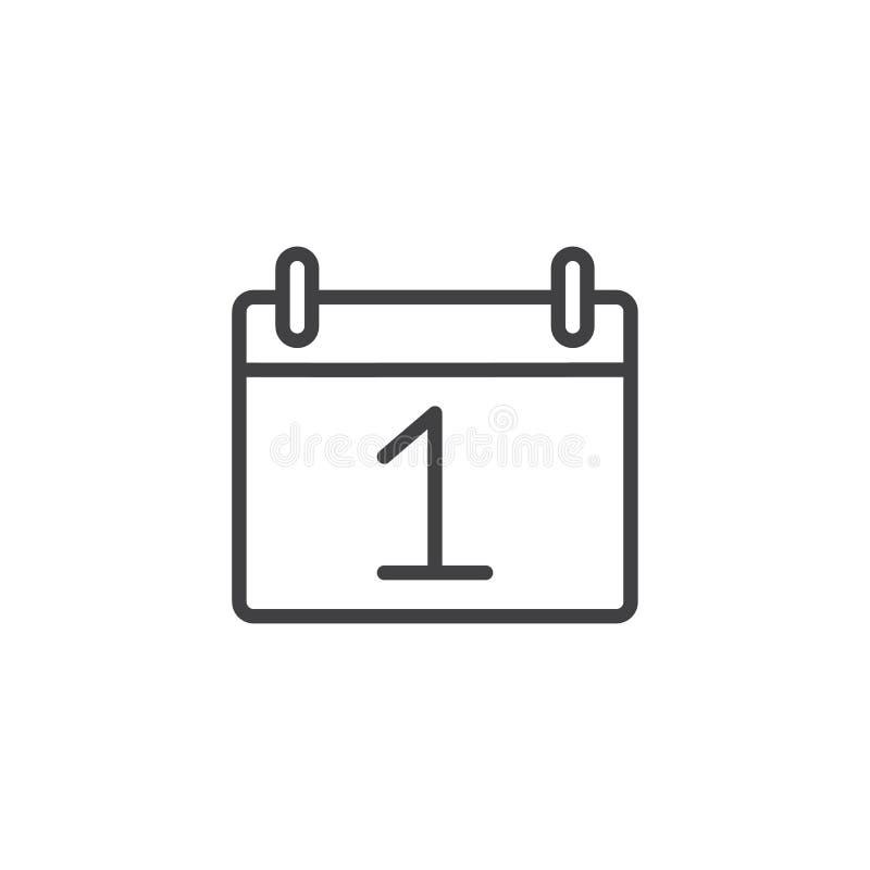 Ligne icône du jour un de date civile illustration libre de droits