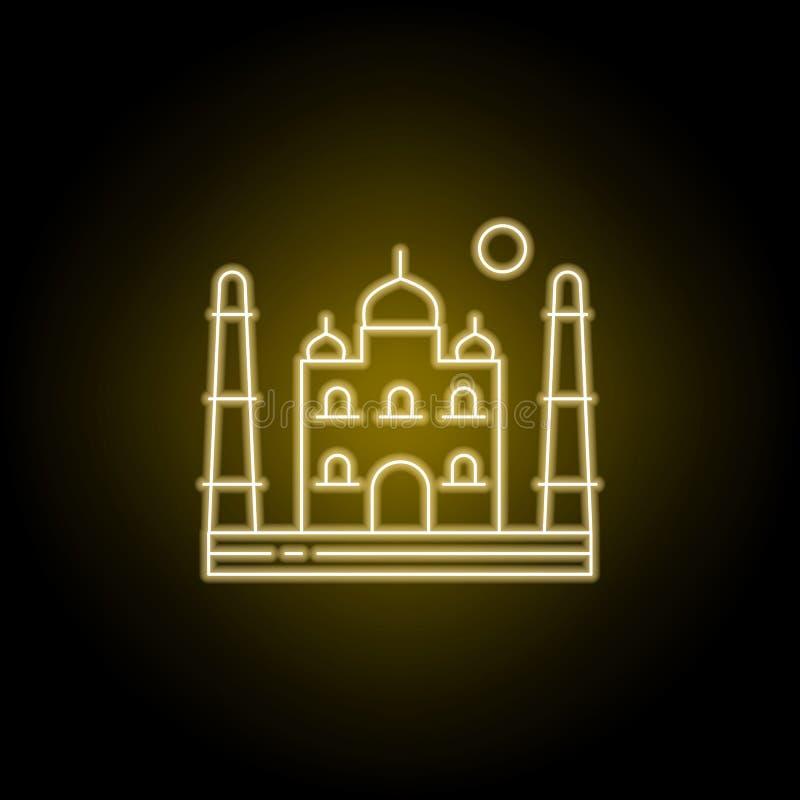 Ligne icône du Taj Mahal, Asie, Inde, Âgrâ dans le style au néon jaune ?l?ment d'illustration de paysages Les signes et les symbo illustration de vecteur