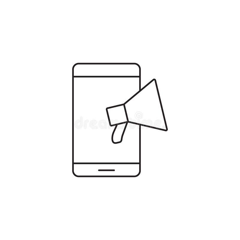 Ligne icône, illustra de corne de brume de logo de vecteur d'ensemble d'annonce de Web illustration stock