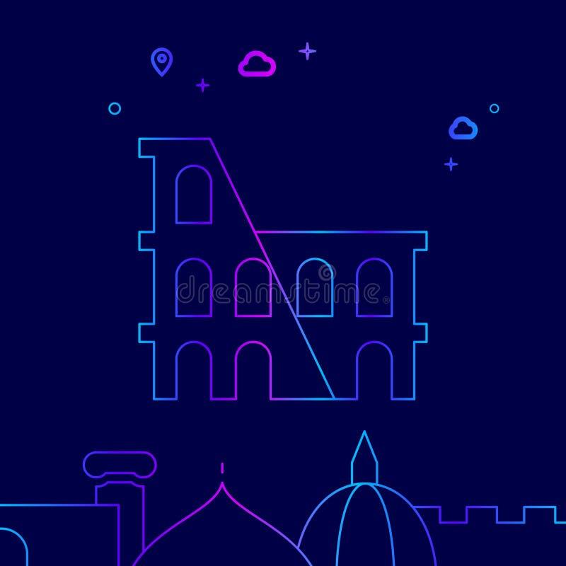 Ligne icône, illustration de vecteur de Colosseum, Rome, Italie sur un fond bleu-foncé Frontière inférieure relative illustration de vecteur