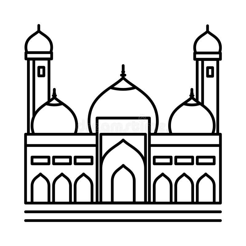 Ligne icône - illustration iconique de mosquée de vecteur illustration stock