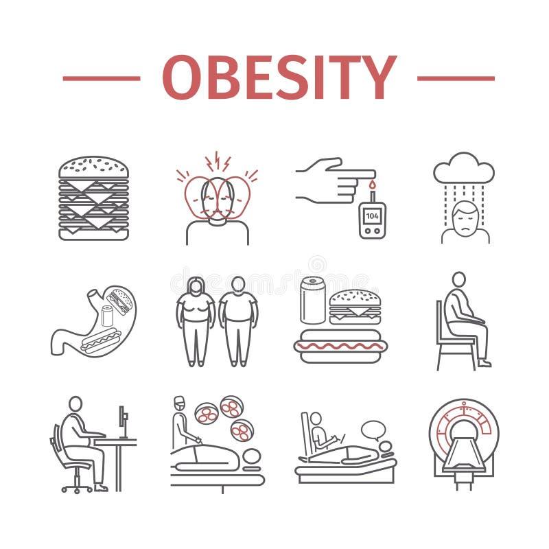 Ligne icône Infographics d'obésité Signe de vecteur pour des graphiques de Web illustration stock