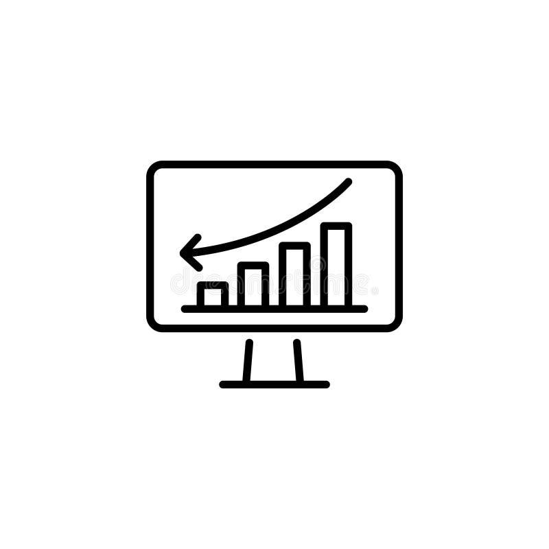 Ligne icône Moniteur avec le graphique de gestion illustration stock