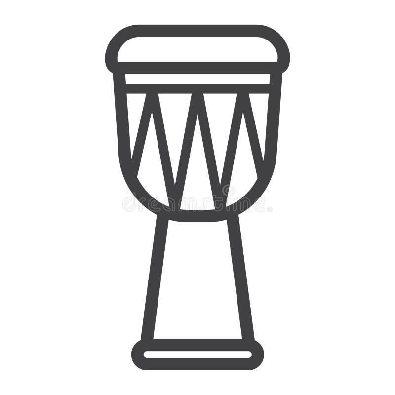 Ligne icône, musique de tambour de Djembe d'Africain illustration stock