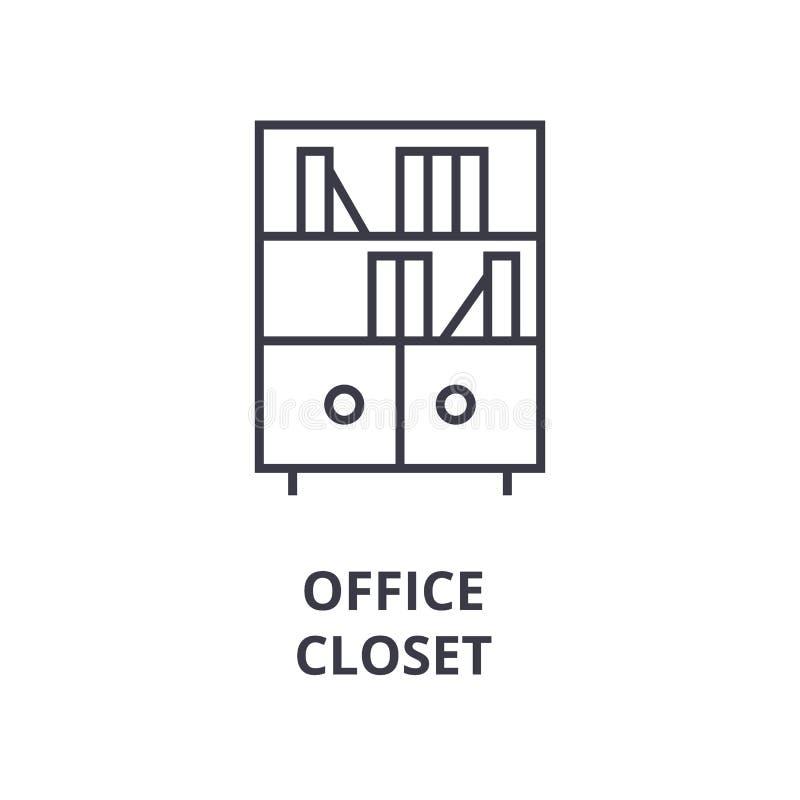 Ligne icône, signe d'ensemble, symbole linéaire, vecteur, illustration plate de cabinet de bureau illustration stock