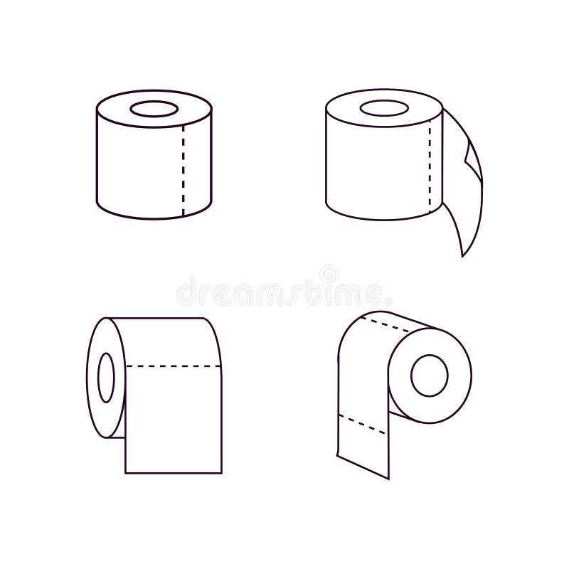 Ligne icône, signe de vecteur d'ensemble, pictogramme linéaire de petit pain de papier hygiénique de style d'isolement sur le bla illustration stock