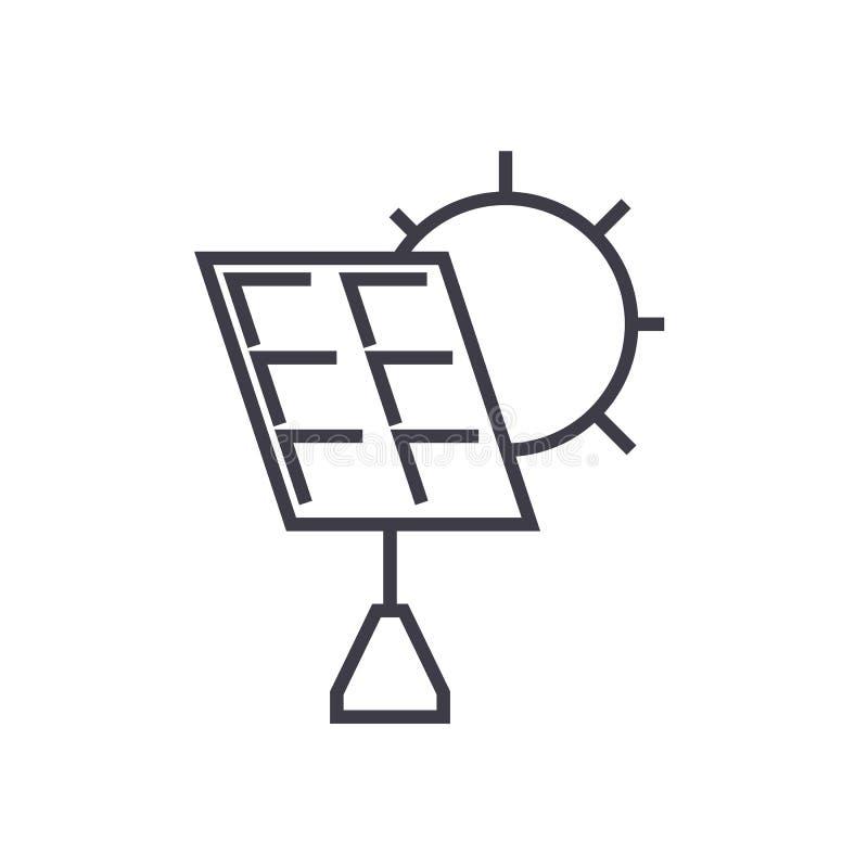 Ligne icône, signe, illustration de vecteur de batterie solaire sur le fond, courses editable illustration stock