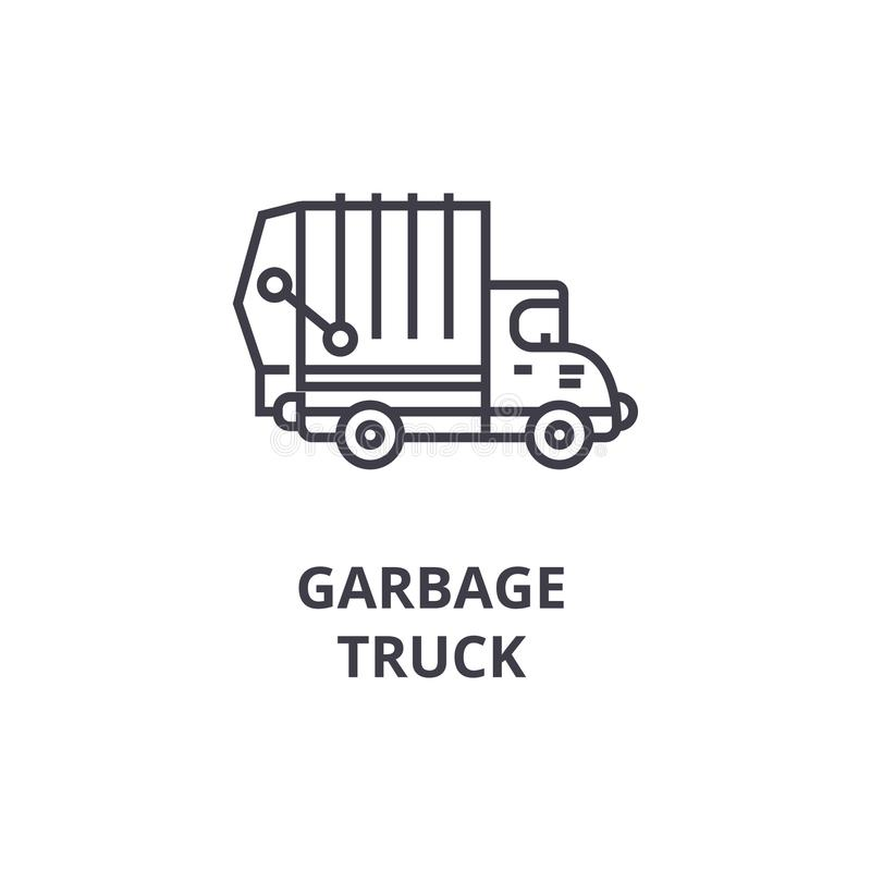 Ligne icône, signe, illustration de vecteur de camion à ordures sur le fond, courses editable illustration libre de droits