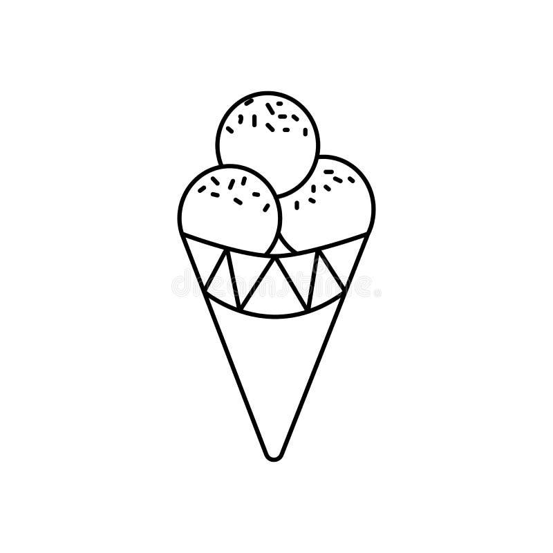 Ligne icône, signe, illustration de vecteur de cornet de crème glacée sur le fond, courses editable illustration libre de droits