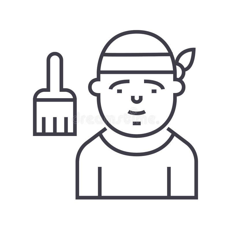 Ligne icône, signe, illustration de vecteur de décorateur sur le fond, courses editable illustration de vecteur
