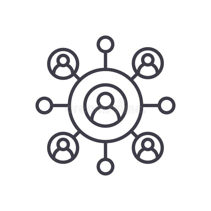 Ligne icône, signe, illustration de vecteur d'affaires de réseau sur le fond, courses editable illustration libre de droits