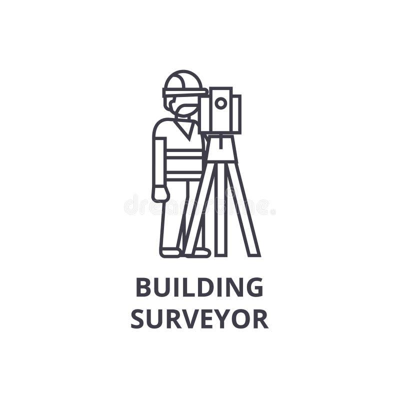 Ligne icône, signe, illustration de vecteur d'arpenteur de bâtiment sur le fond, courses editable illustration stock
