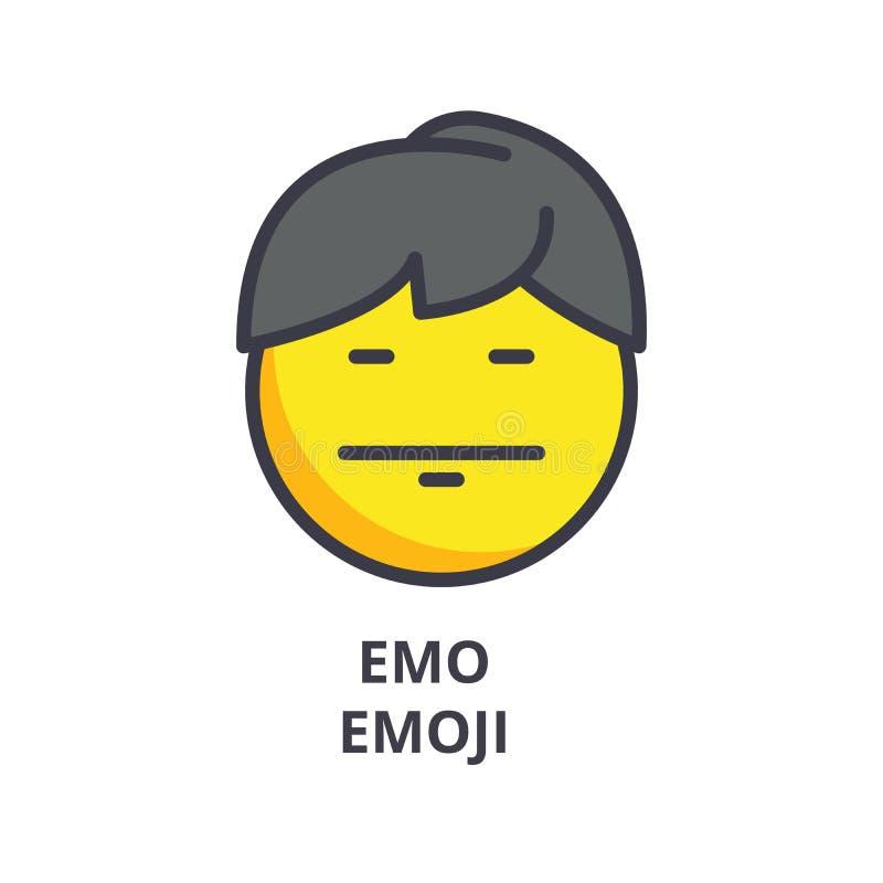 Ligne icône, signe, illustration de vecteur d'emoji d'Emo sur le fond, courses editable illustration de vecteur