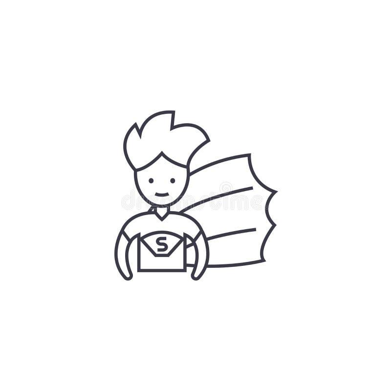 Ligne icône, signe, illustration de vecteur d'enfant de superhéros sur le fond, courses editable illustration libre de droits