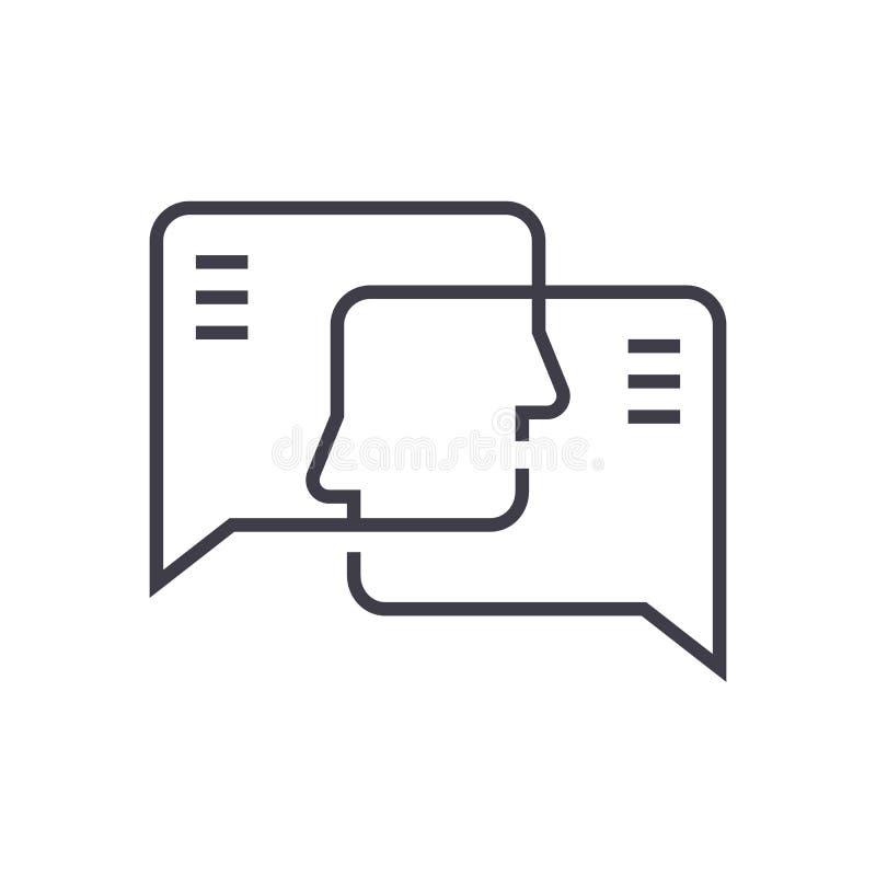 Ligne icône, signe, illustration de vecteur d'engagement social sur le fond, courses editable illustration stock