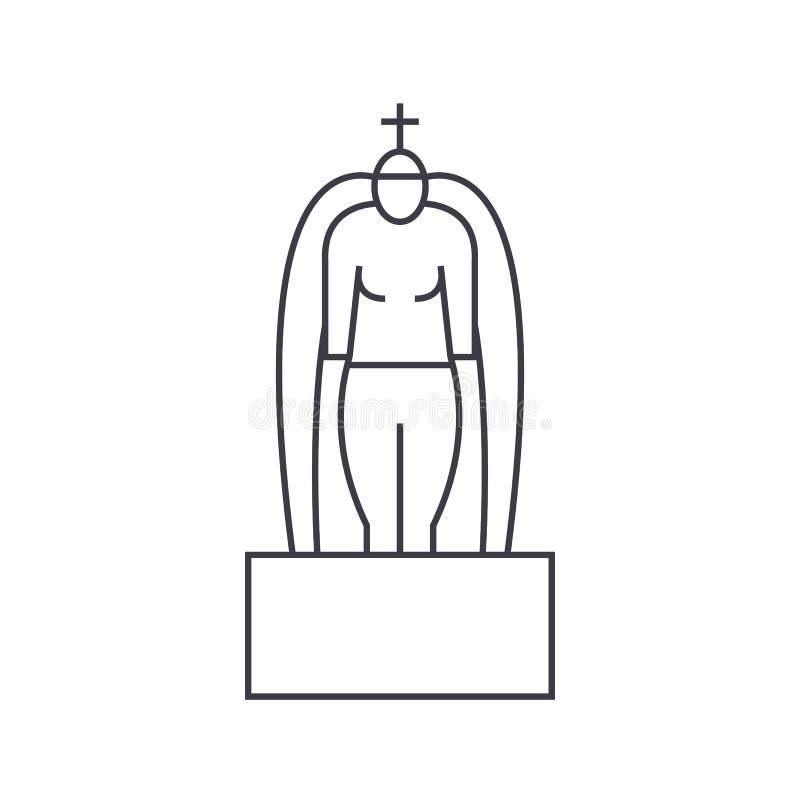 Ligne icône, signe, illustration de vecteur d'hindouisme sur le fond, courses editable illustration libre de droits