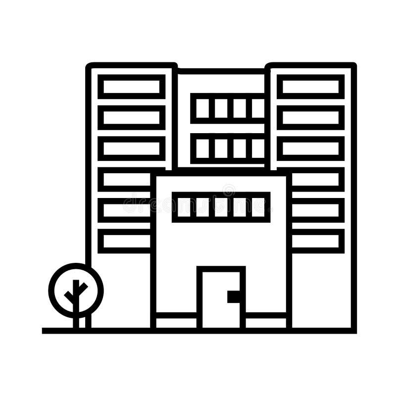 Ligne icône, signe, illustration de vecteur d'immeuble de bureaux sur le fond, courses editable illustration libre de droits
