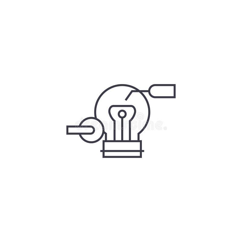 Ligne icône, signe, illustration de vecteur d'innovateur sur le fond, courses editable illustration libre de droits