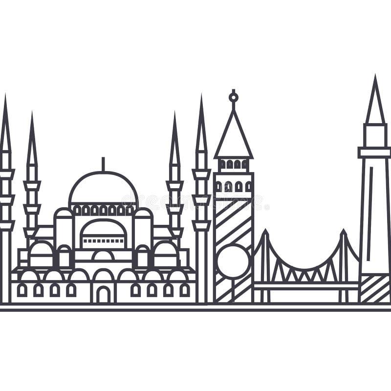 Ligne icône, signe, illustration de vecteur d'Istambul sur le fond, courses editable illustration stock