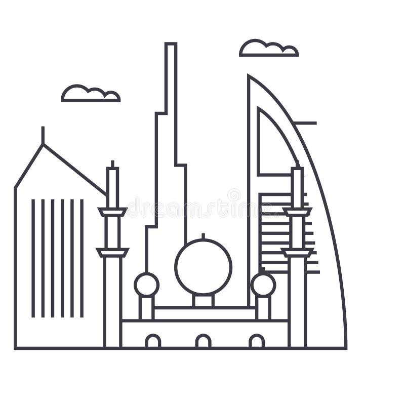 Ligne icône, signe, illustration de vecteur de Dubaï sur le fond, courses editable illustration stock