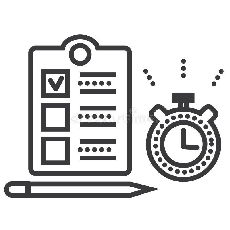Ligne icône, signe, illustration de vecteur de gestion du temps sur le fond, courses editable illustration de vecteur