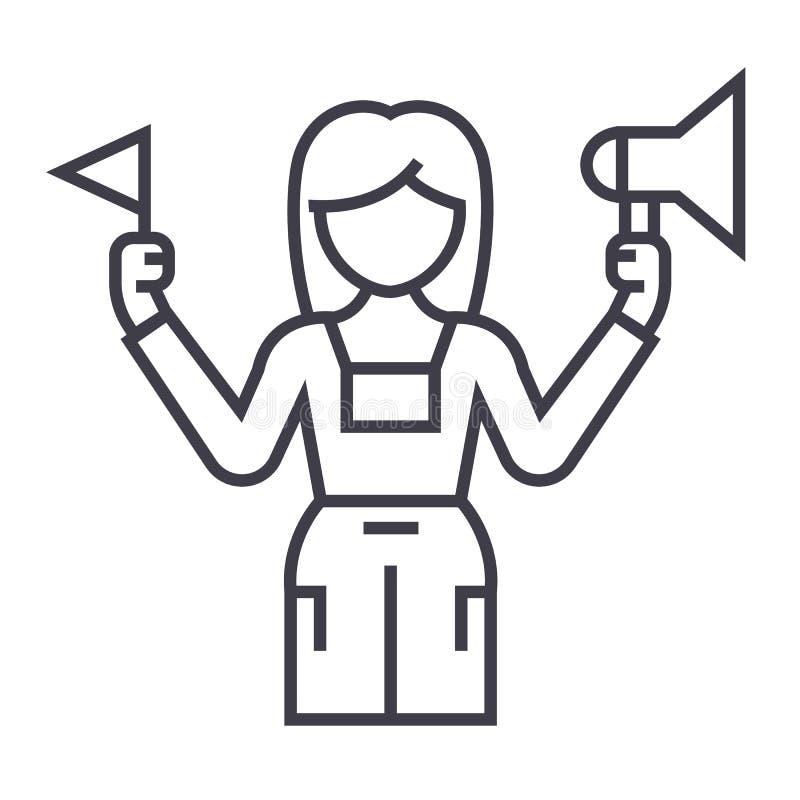 Ligne icône, signe, illustration de vecteur de guide touristique sur le fond, courses editable illustration libre de droits
