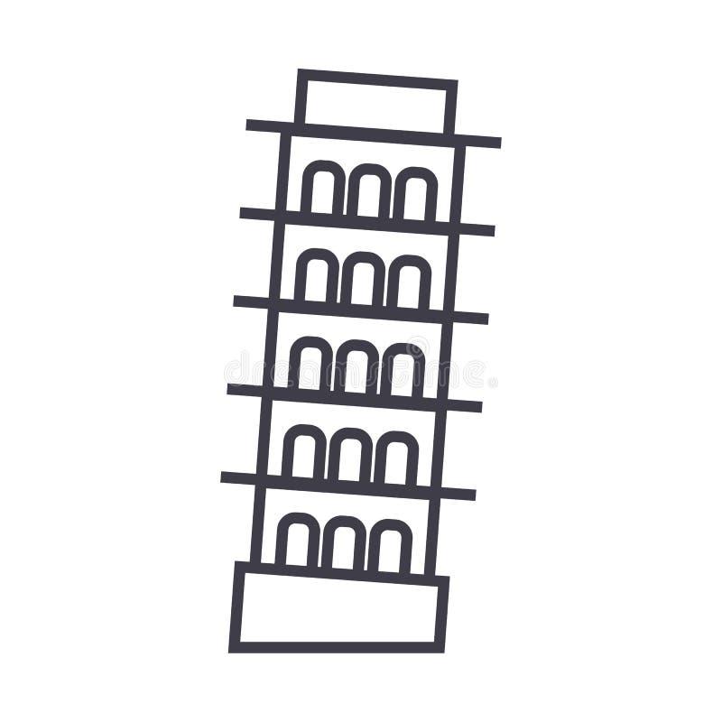 Ligne icône, signe, illustration de vecteur de Pise, Italie sur le fond, courses editable illustration libre de droits