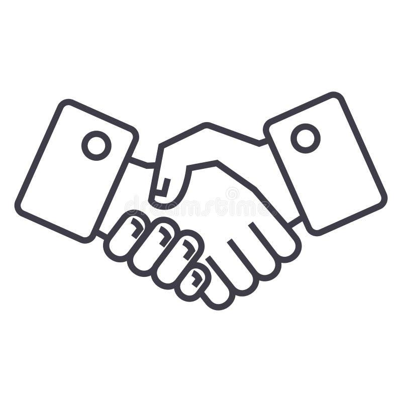 Ligne icône, signe, illustration de vecteur de poignée de main sur le fond, courses editable illustration stock