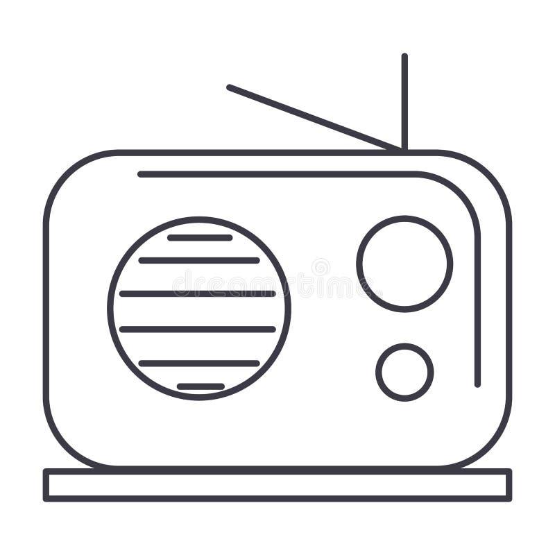 Ligne icône, signe, illustration de vecteur de récepteur radioélectrique sur le fond, courses editable illustration de vecteur