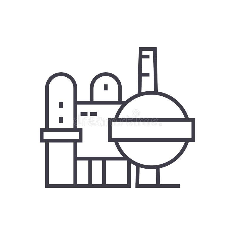 Ligne icône, signe, illustration de vecteur de raffinerie de pétrole sur le fond, courses editable illustration stock