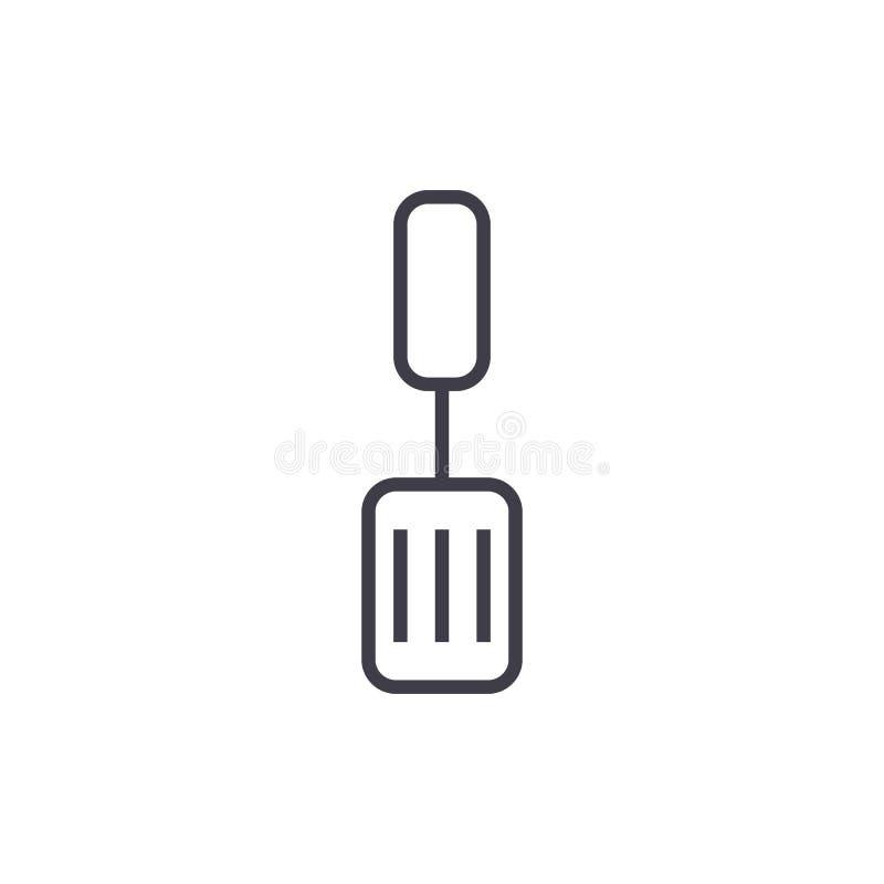 Ligne icône, signe, illustration de vecteur de spatule sur le fond, courses editable illustration de vecteur